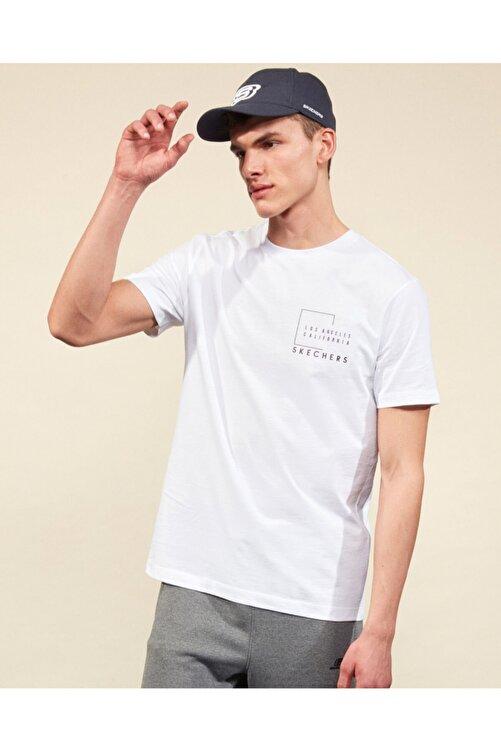 SKECHERS Graphic Tee M Crew Neck T-Shirt Erkek Beyaz Tshirt 2