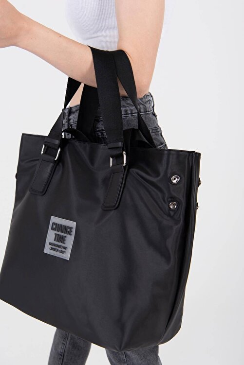 Addax Kadın Siyah Çıtçıt Detaylı Büyük Çanta Ç3215 - D13 ADX-0000022923 2
