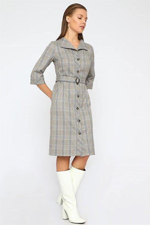 Chima Düğmeli Ekose Elbise 2