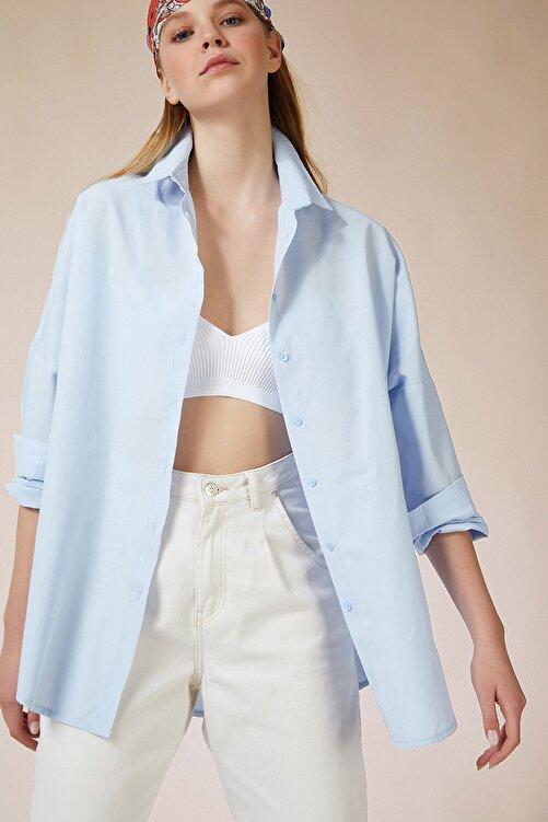 Happiness İst. Kadın Gök Mavi Oversize Uzun Basic Gömlek DD00842 2