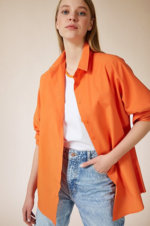 Happiness İst. Kadın Oranj Oversize Uzun Basic Gömlek DD00842 1