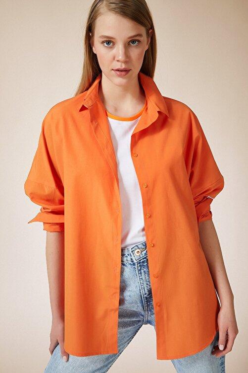 Happiness İst. Kadın Oranj Oversize Uzun Basic Gömlek DD00842 2