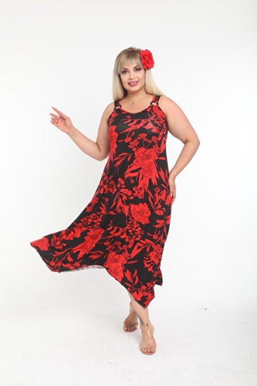 HERAXL Kadın Askılı Kırmızı Yaprak Desen Toka Detaylı Elbise 1