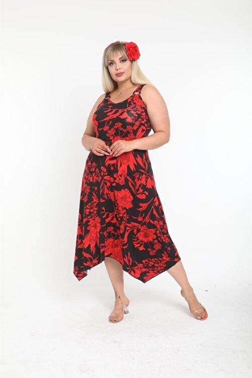 HERAXL Kadın Askılı Kırmızı Yaprak Desen Toka Detaylı Elbise 2