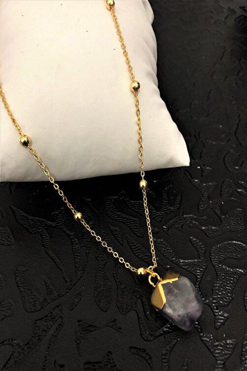 Dr. Stone Dr stone golden  ametist taşı 22k altın kaplama El yapımı Kadın Kolye TKRB25 1