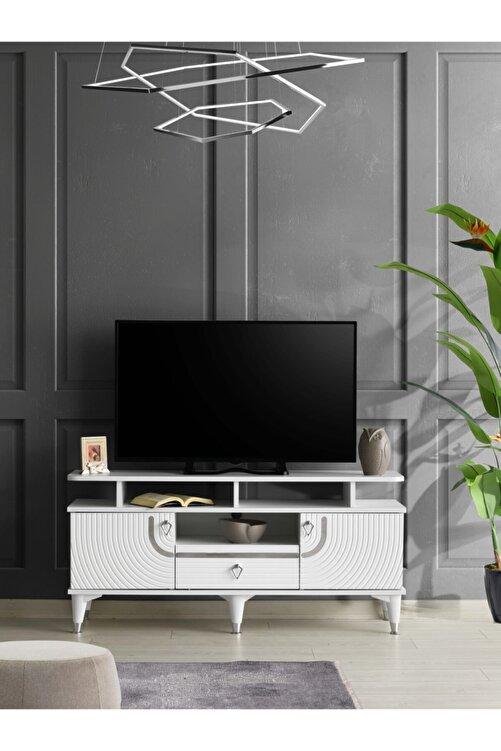 Venüs 130 Cm Art Raflı Tv Sehpası Beyaz - Gümüş 1