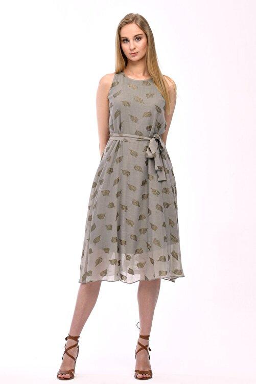 JEANNE DARC Haki Kolsuz Kuşaklı Astarlı Pamuklu Kumaş Elbise Je545319 1