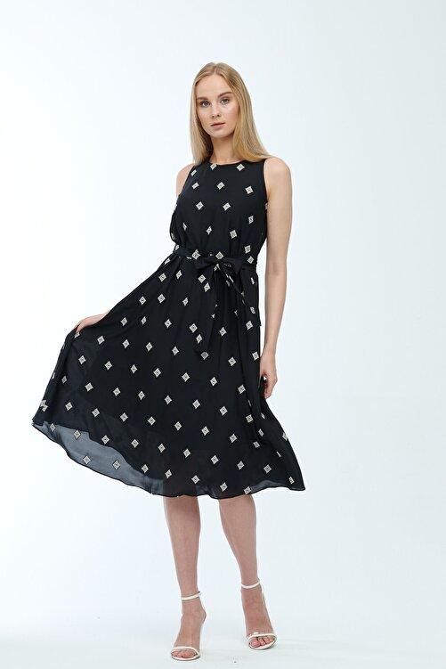JEANNE DARC Siyah Desenli Kuşaklı Astarlı Yakma Vual Elbise Je545318 2