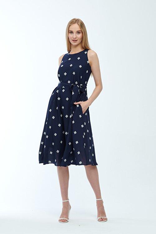 JEANNE DARC Lacivert Desenli Kuşaklı Astarlı Yakma Vual Elbise Je545318 1