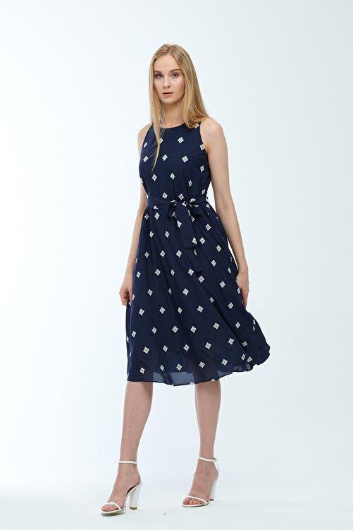 JEANNE DARC Lacivert Desenli Kuşaklı Astarlı Yakma Vual Elbise Je545318 2