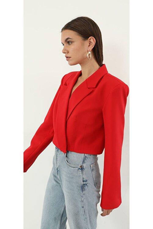 The Ness Collection Kırmızı Crop Blazer Ceket 2