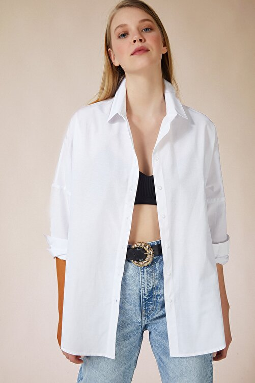 Happiness İst. Kadın Beyaz Oversize Uzun Basic Gömlek DD00842 1