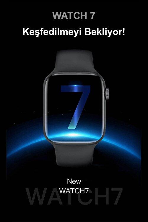 Black Dice Iphone ve Android Uyumlu Watch 7 Plus Son Nesil Gümüş Yan Düğme İleri Geri ve Yakınlaştırma Aktif 2