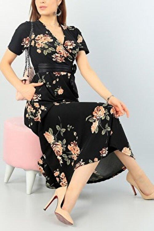 Maxi İdol Kadın Büyük Beden Krep Kumaş Kemer Dahil Gül Desenli Elbise Boy 120cm 1