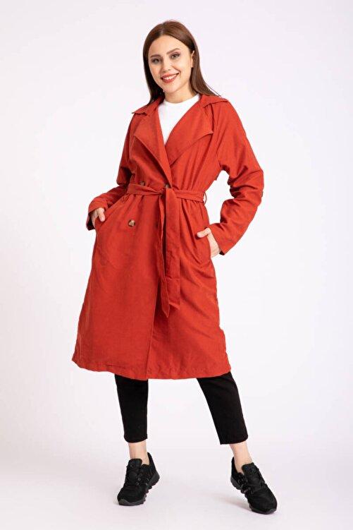 Giyim Dünyası Kadın Kuşaklı Trençkot Kiremit 2