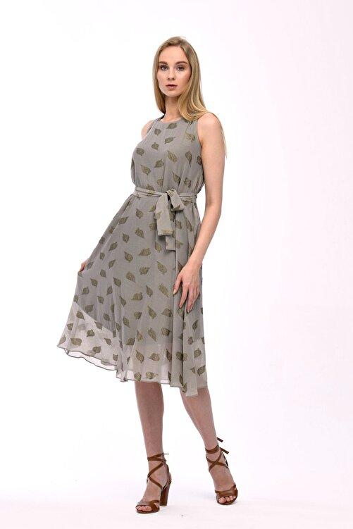 JEANNE DARC Haki Kolsuz Kuşaklı Astarlı Pamuklu Kumaş Elbise Je545319 2
