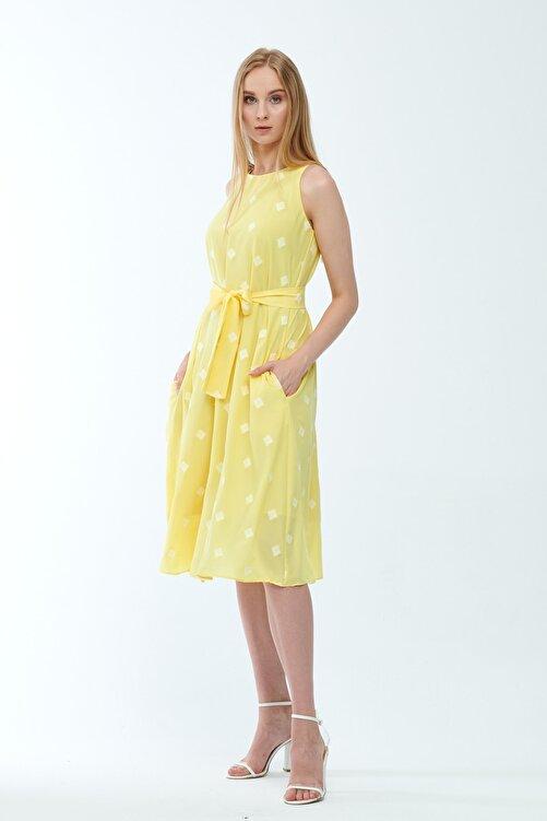 JEANNE DARC Sarı Desenli Kuşaklı Astarlı Yakma Vual Elbise Je545318 2