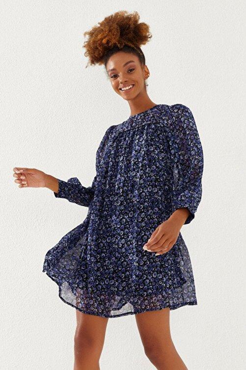 Reyon Kadın Lacivert Çiçek Desenli Şifon Elbise 2