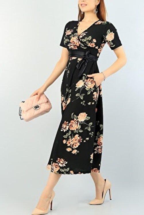 Maxi İdol Kadın Büyük Beden Krep Kumaş Kemer Dahil Gül Desenli Elbise Boy 120cm 2