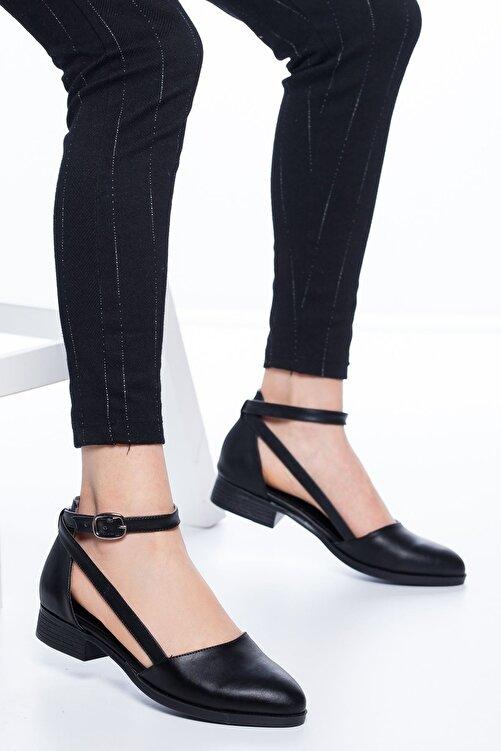 MaskButik Kadın Siyah Rayna Kısa Topuk Cilt Ayakkabı 1