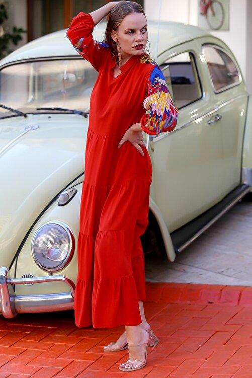 Chiccy Kadın Kiremit Kolları Tavus Kuşu Nakışlı Salaş Uzun Dokuma Elbise M10160000EL94639 2