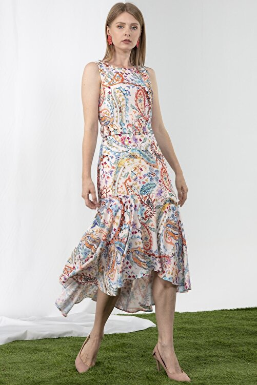 Journey Elbise-o Yaka Kolsuz, Bel Kemerkumaş Kaplı, Etek Alt Volanlı 2