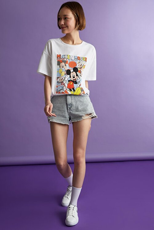 DeFacto Coool Mickey Mouse Lisanslı Relax Fit Kısa Kollu Tişört 2