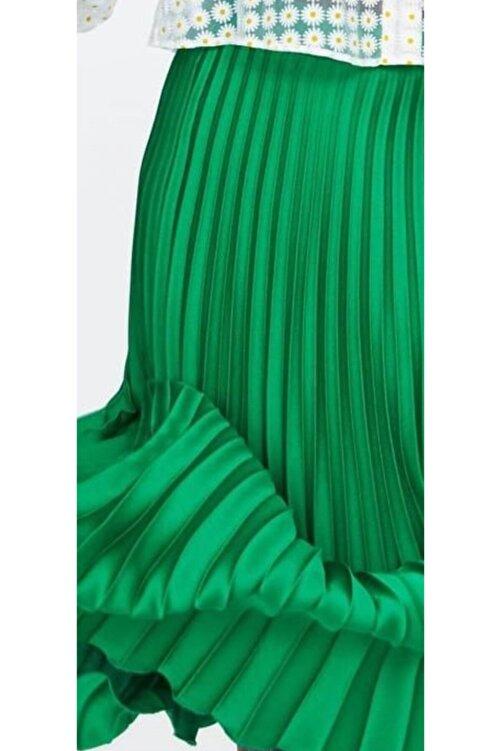The Ness Collection Yeşil Pileli Saten Görünümlü Beli Lastikli Etek 2