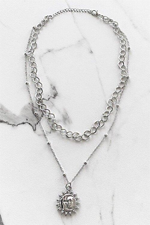 TAKIŞTIR Gümüş Renk Güneş Figürlü Zincir Kolye 1