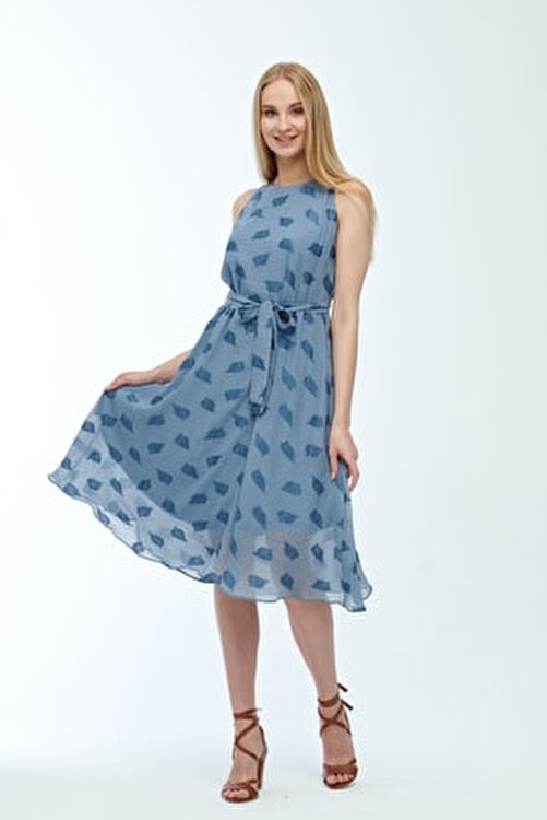 JEANNE DARC Mavi Kolsuz Kuşaklı Astarlı Pamuklu Kumaş Elbise Je545319 2