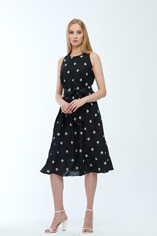 JEANNE DARC Siyah Desenli Kuşaklı Astarlı Yakma Vual Elbise Je545318 1