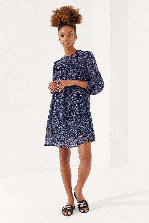 Reyon Kadın Lacivert Çiçek Desenli Şifon Elbise 1