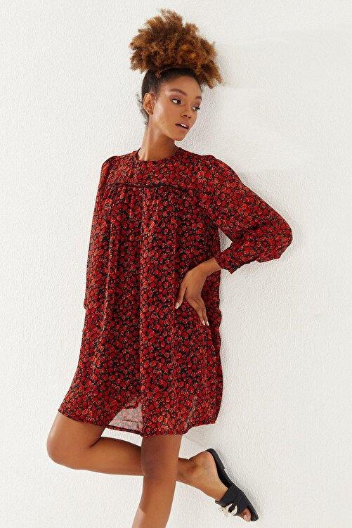 Reyon Kadın Nar Çiçeği Çiçek Desenli Şifon Elbise 2