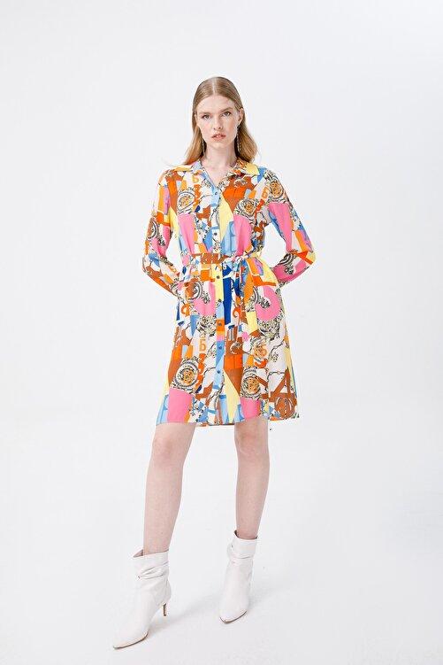 Ekol Kadın Polo Yaka Desenli Elbise 6055066 Sarı 2