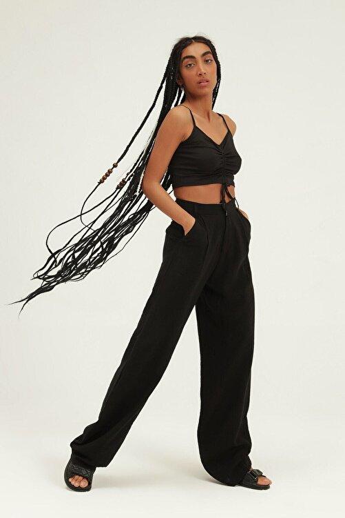 Quzu Kadın Siyah Yüksel Bel Bol Paça Pantolon 1