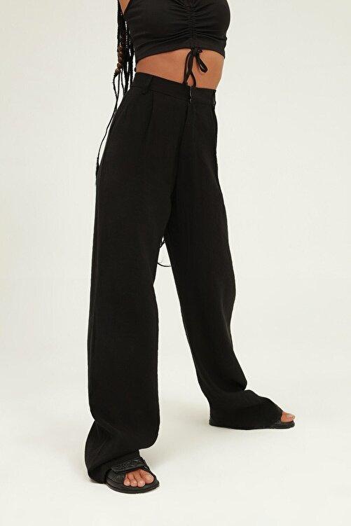 Quzu Kadın Siyah Yüksel Bel Bol Paça Pantolon 2