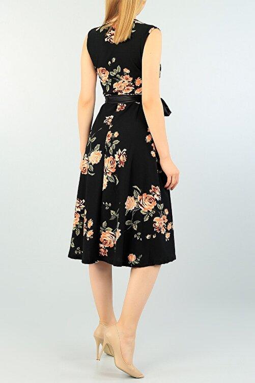 Maxi İdol Kadın Büyük Beden Krep Kumaş Sıfır Kol Kemer Dahil Kruvaze Yaka Gül Desenli Elbise Boy 120cm 2
