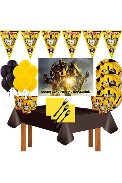 transformers Afişli Bumblebee 24 Kişilik Doğum Günü Parti Süsleri Malzemeleri Seti 1