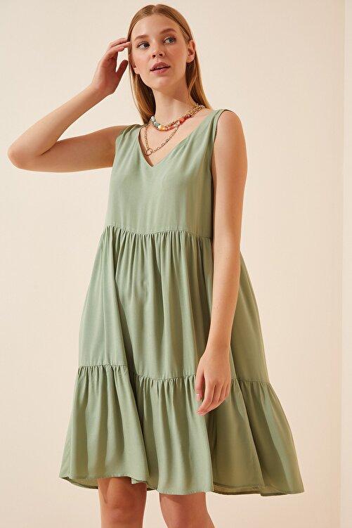 Happiness İst. Kadın Çağla Yeşili Ön Arka V Yaka Yazlık Viskon Elbise DD00970 2