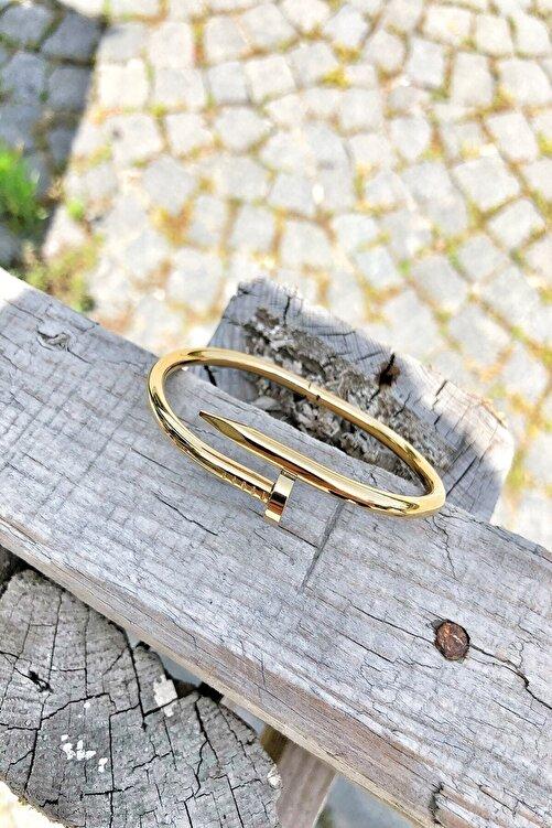 Bazaryeri Unisex Sarı Çivi Çelik Bileklik 2
