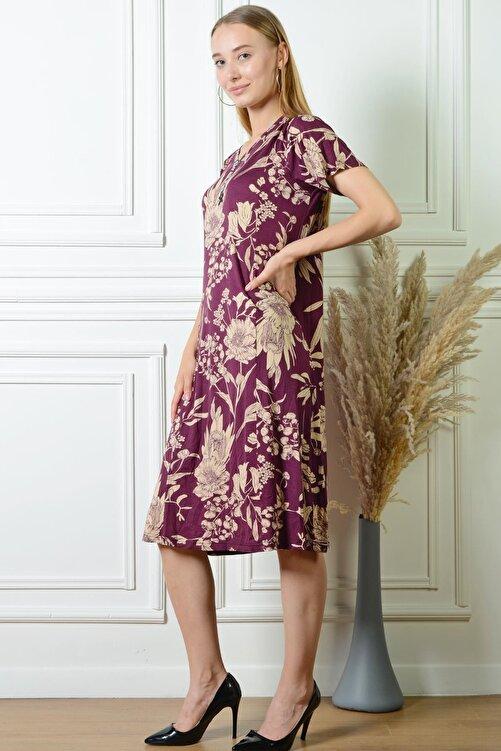 PİNKMARK Pınkmark Kadın Çiçek Desenli Mürdüm Düğme Detaylı Büyük Beden Elbise Pmel25311 2