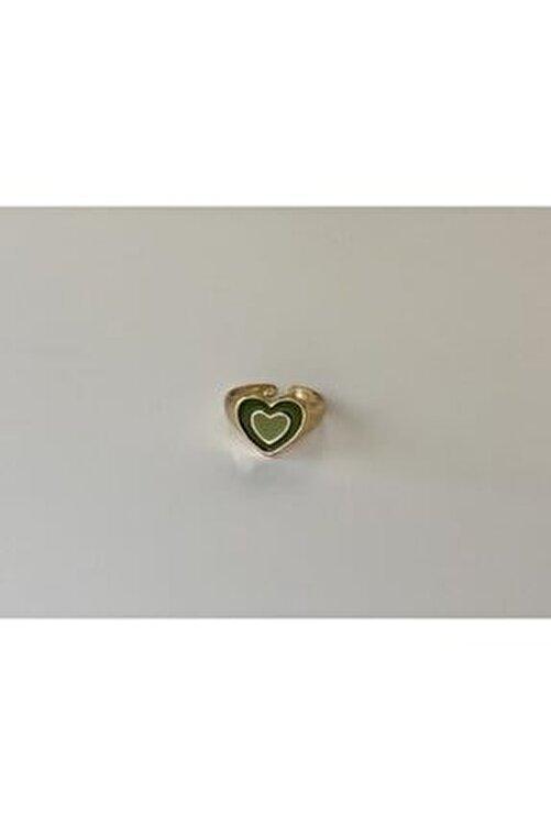 lesseffortless Ayarlanabilir Yeşil Hipnotik Kalp Gold Yüzük 1