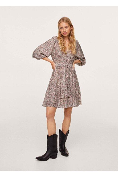 MANGO Woman Kadın Bordo Kabarık Kollu Elbise 2
