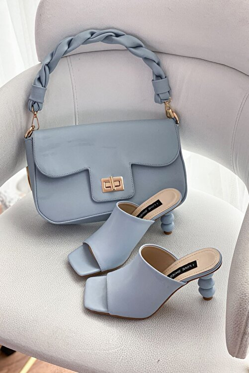 I Love Shoes Kadın Mavi Cloren Mat Deri Topuk Detaylı Yüksek Topuklu Terlik 2