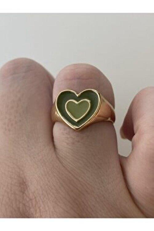 lesseffortless Ayarlanabilir Yeşil Hipnotik Kalp Gold Yüzük 2