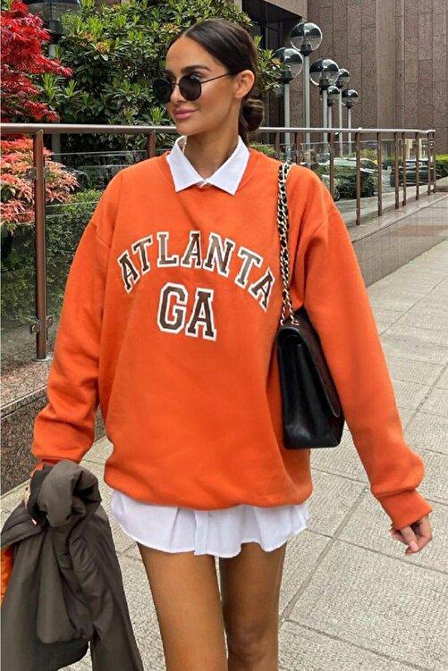 MODAGEN Kadın Turuncu Atlanta Baskılı Oversize Sweatshirt 1