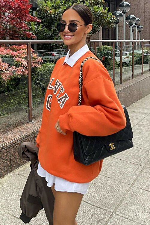 MODAGEN Kadın Turuncu Atlanta Baskılı Oversize Sweatshirt 2