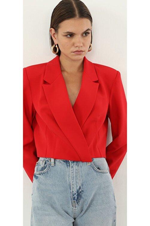 The Ness Collection Kırmızı Crop Blazer Ceket 1