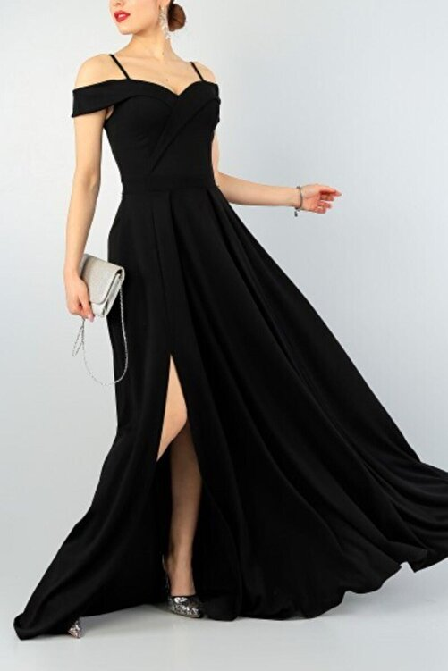 tknfashion Şık Siyah Kruvaze Yaka , Pileli Abiye Elbise Uzun Elbise Düğün Elbisesi 078 2
