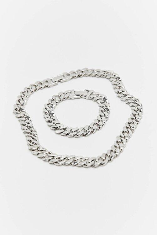 Pull & Bear Gümüş Rengi Kolye Ve Bileklik Seti 2